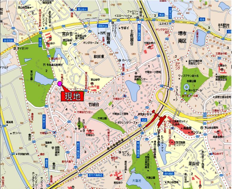 閑静な住宅街  全3区画 <font size=3 color=RED><B>完売御礼!</B></font> A号地 堺市南区竹城台4丁